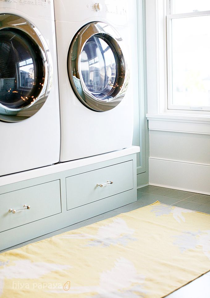 This Laundry Room Features Cabinets Painted In Benjamin Moore Palladian  Blue, Surrounding Front Load Washer And Dryer On Built In Risers Part 92