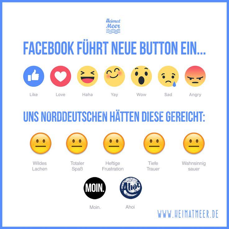 """Neue Facebook Button - wo bleibt nur der norddeutsche """"MOIN."""" & """"Ahoi""""…"""