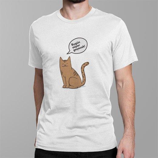 """""""Bugün süper geçecek """"  illüstrasyonlu tişörtü ister siz giyin ve etrafa pozitif enerji saçın, isterseniz de sevdiklerinize hediye edin, onları mutlu edin! https://www.mottoposter.com/tisort/543bugun-super-gececek-tisort.html#/renkler-beyaz/tur-erkek/beden-l"""