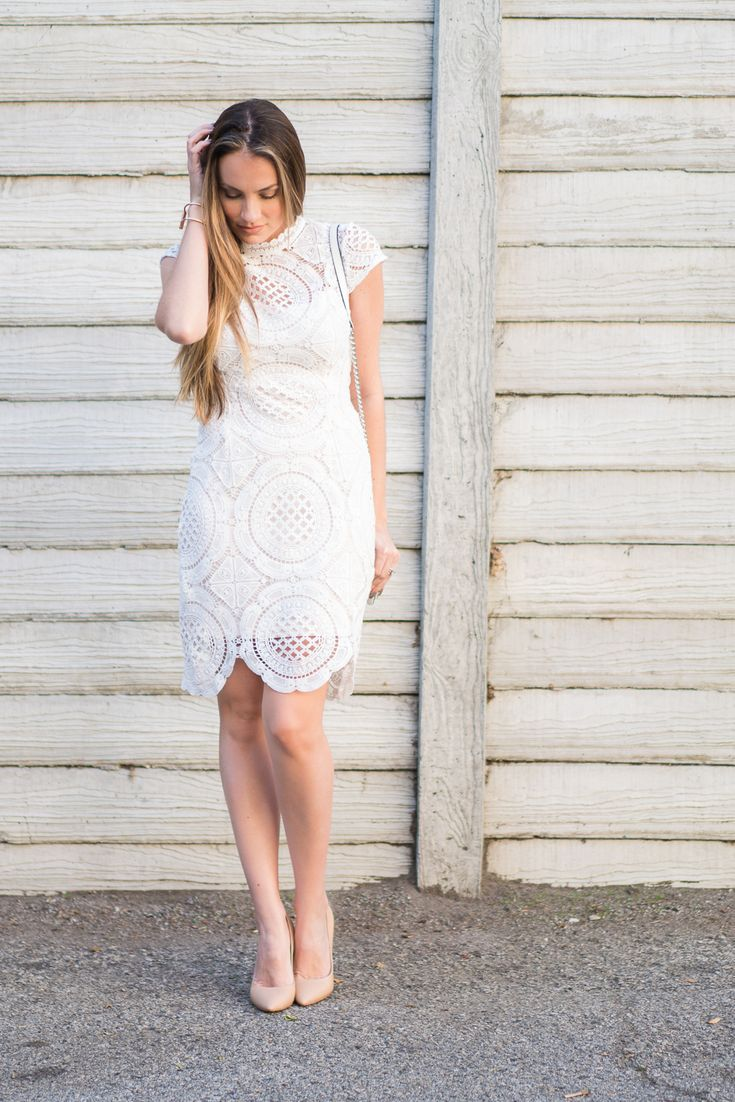 Darling @forever21 crocheted dress paired with nude pumps for perfect spring look. #HelloGorgeous