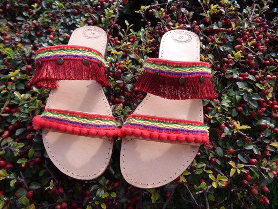 Greek Leather Sandals Pathos Boho sandals pom pom by Oniropolis