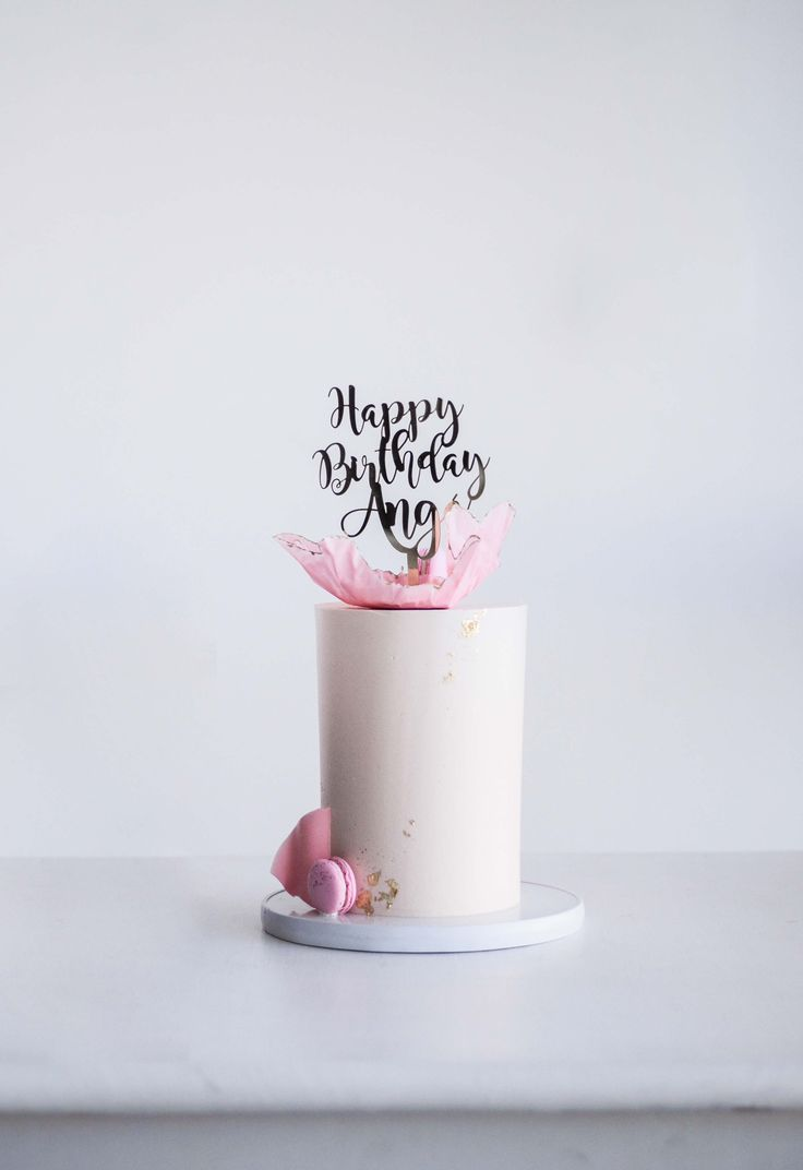 Soft Pink Celebration Cake with Cake Topper by LionHeart