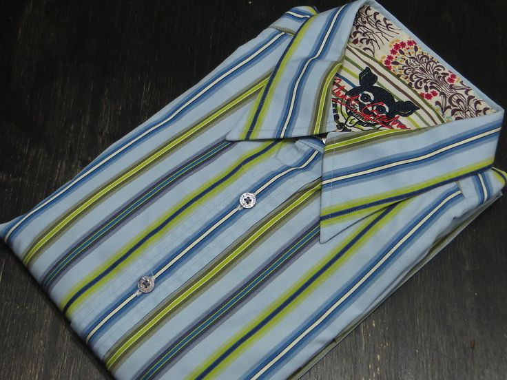 ROBERT Graham LARGE Shirt STRIPED Multicolor FLIP Contrast CUFF Keep SMILING Sz* #RobertGraham