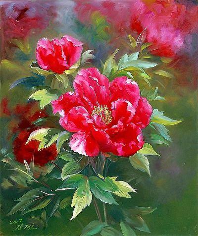 북한 공훈예술가 강정호 그림『글라디올라스』. 1950년 강원도 원산시 평화동에서 출생. 평양미술대학 졸업한 후, 백화미술창작사에서 창작기량이 높고 창작실력이 있는 실력있는 미술가입니다. 또한