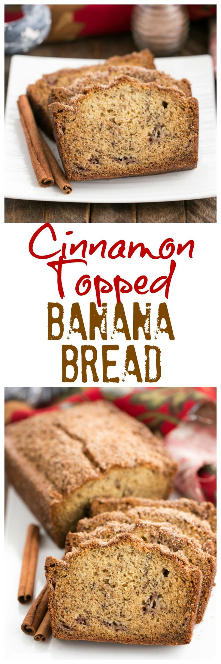 When you need a little something sweet for breakfast, a thick slice of this Cinnamon Topped Banana Bread will do the trick! @lizzydo