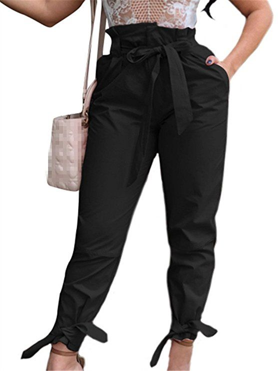 b52e23fe32ddc GOBLES Women Solid Casual Work Trousers High Waist Ruffle Bow Tie Pants at Amazon  Women's Clothing store: