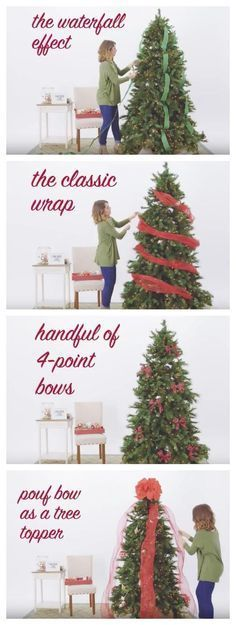If you're looking for a creative way to decorate your tree this holiday, watch our how-to video with 5 Ways to Use Ribbon on Your Christmas Tree! It shows how you can achieve the waterfall effect, the classic wrap, 4 point bows, a pouf bow as a tree topper and ribbon bunches.