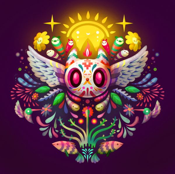 Querubín by Carlos Lerma Illustrations, Illustration Art, Day Of The Dead Art, Aztec Art, Mexican Art, Funny Art, Cute Drawings, Painting Inspiration, Amazing Art