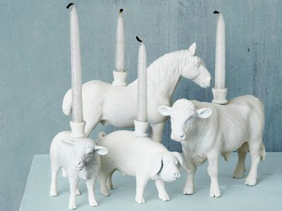 barnyard animal candle holders