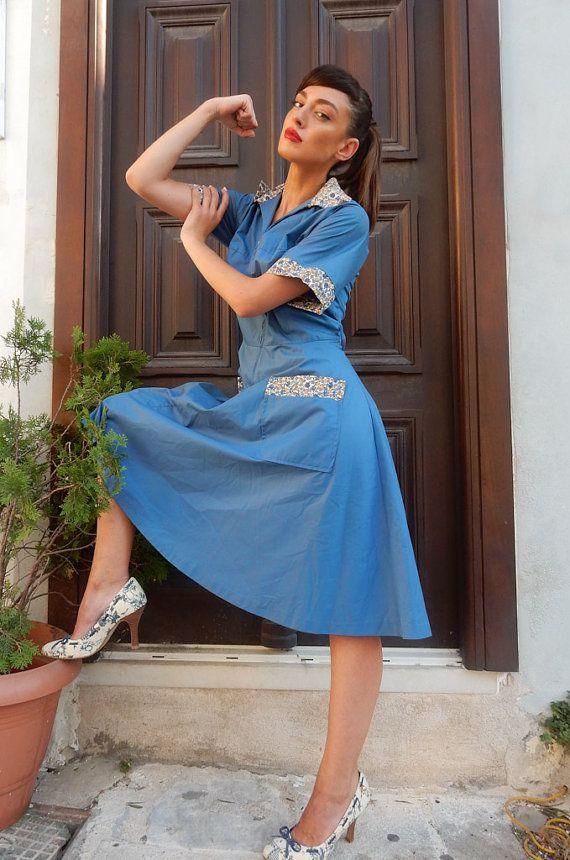 Vintage Blue Dress, Flower Pattern at Collar-Sleeves-Pockets, Swing Midi Dress