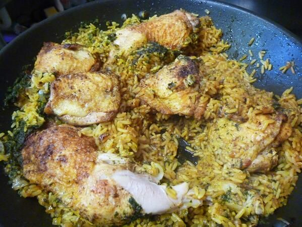 Machboos - an Arabic chicken'rice dish with many variations, one of which is being worked on on the Spicery kitchen!