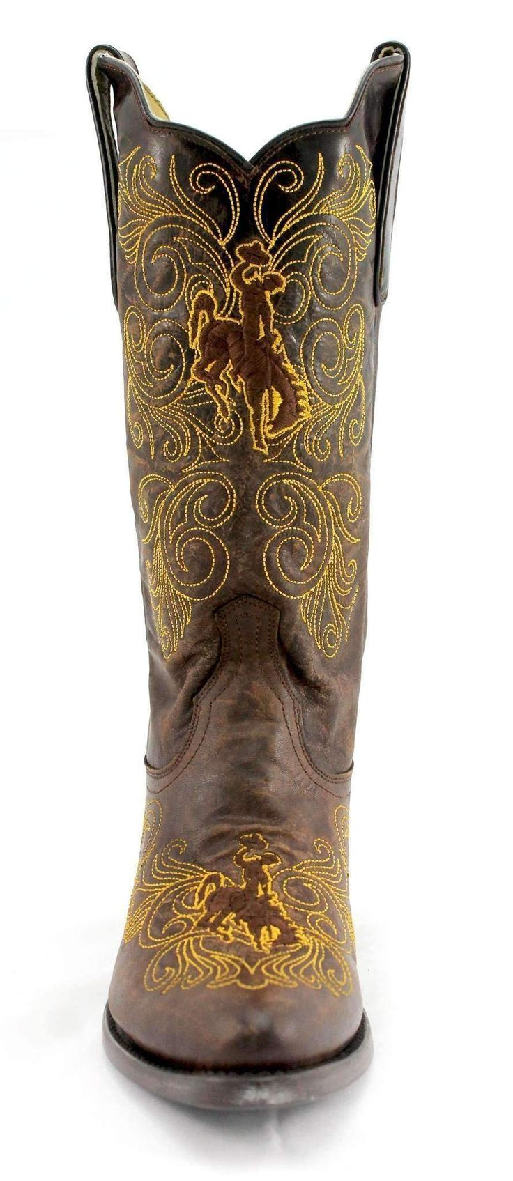 Gameday U Of Wyoming Ladies Leather Boots WY-L328-1 - Brass