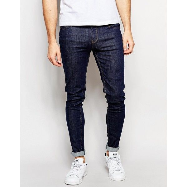 Criminal Damage Skinny Jeans (36410 IQD) ❤ liked on Polyvore featuring men's fashion, men's clothing, men's jeans, blue, mens skinny jeans, mens skinny fit jeans, mens blue jeans, mens super skinny jeans and tall mens jeans