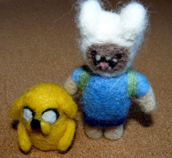 Felted Finn and Jake from adventure time by WoodlandFeltCrafts, €28.00