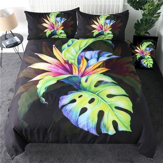 Palm Leaf Duvet Cover Bed Colorful Black Palm Leave Quilt Cover Set Tropical Floral Bedroom Floral Bedroom Flower Bedding Quilt Cover Sets