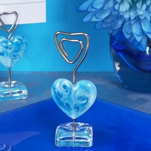 murano blue glass heart place card holder