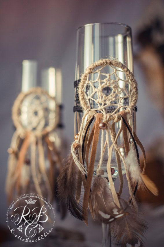 Native American wedding toasting glasses dream от RusticBeachChic