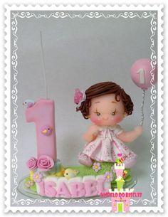 Mini topo de bolo com nome/ balão e vela    FEITO SOB ENCOMENDA    Frete por conta do comprador