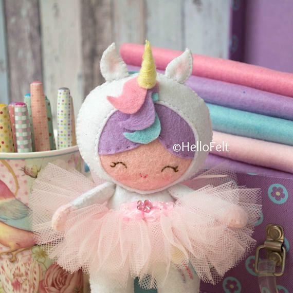 PDF PATTERN: Little Unicorn Girl. Felt Doll Unicorn
