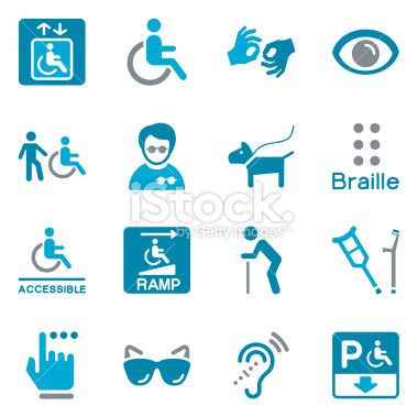 Vector File of Disability Icons | Color related vector icons for your design or application. Raw style. Files included: vector EPS, JPG, PNG. See more in this series.