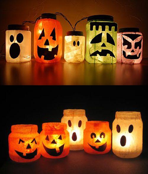 Alternative decorazioni con dei vasetti per halloween, per tutti coloro che non avessero una zucca a portata di mano
