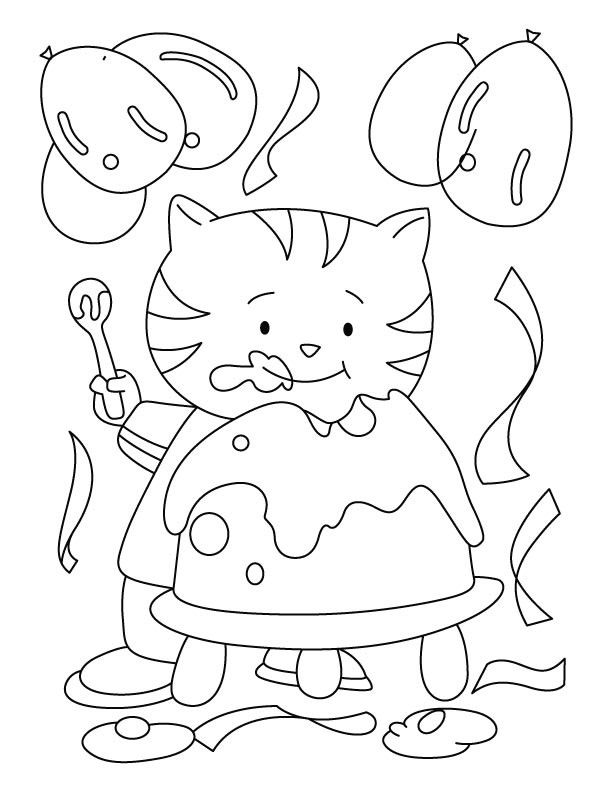Cat Birthday Coloring Page Youngandtae Com Birthday Coloring Pages Cat Coloring Page Cat Birthday