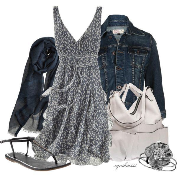 Smoke & Ivory dress--put this little ensemble on and you will be smokin'! The white bag is fabulous.: White Bags, Summer Dresses, Fashion, Ivory Dresses, Style, Jeans Jackets, Denim Jackets, Dresses Outfits, The Dresses