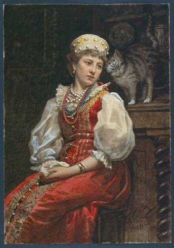 Jeune femme en costume traditionnel russe avec un chat ~ Victor Alekseevitch Bobrov