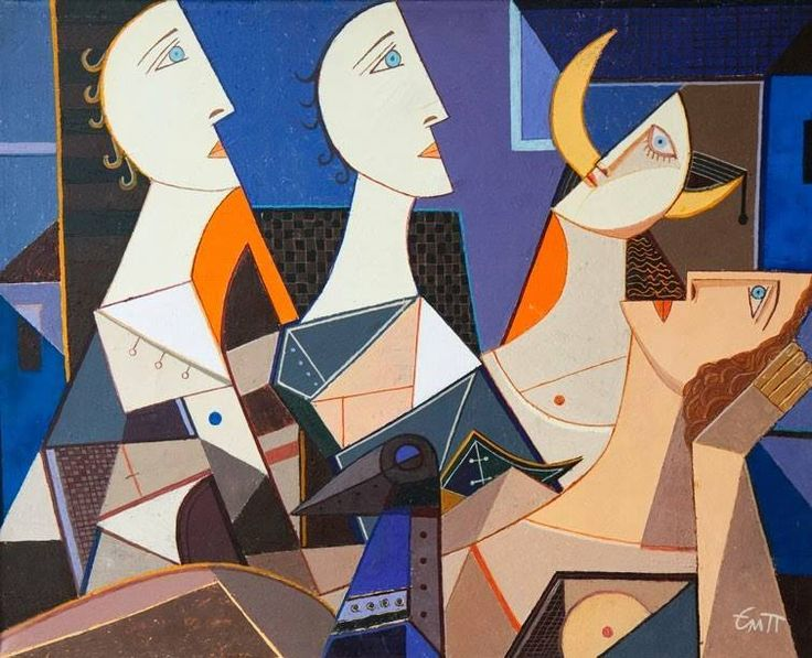 """Most distinct Bulgarian representatives of Cubism Emanuil Popgenchev (1942-2010) was born in Gabrovo, Bulgaria. Graduated the National Art Academy, """"Decorative monumental painting"""", 1967. The only contemporary Bulgarian artist who built a body of work in the style of Cubism and his achievements receive international recognition."""
