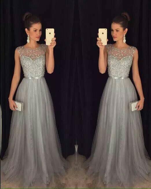 Prom Dress Grey Tulle Evening Dress with Beading
