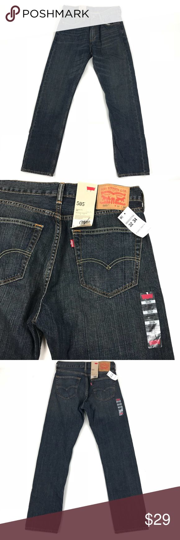 LEVIS 505 Jeans 32 x 34 Mens Blue Regular Fit NWT Nice jeans in brand new unworn condition. Levi's Jeans Relaxed