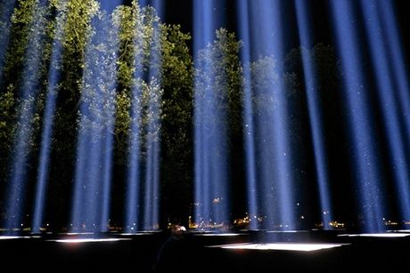 Ryoji Ikeda's Spectra being tested in Victoria Tower Gardens, London. Photograph: Frantzesco Kangaris for The Guardian
