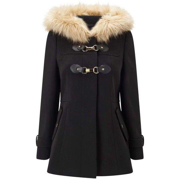 Miss Selfridge PETITE Black Duffle Coat (2,200 EGP) ❤ liked on Polyvore featuring outerwear, coats, black, petite, duffle coat, miss selfridge, miss selfridge coats and petite coats