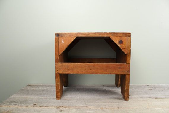 Antique Wooden Foot Stool with Dark Stained by TheHomeMarket