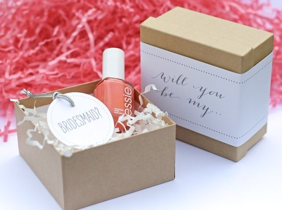 Be My Bridesmaid - Nail Polish Gift. Ask your bridesmaids with a nail polish in the color you want them to wear on your wedding day or give them a gift of nail color for big day.