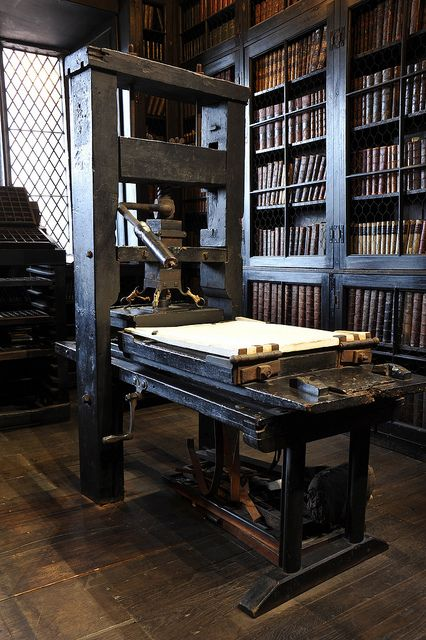 Printing press at Chetham's Library, Manchester by flufzilla22, via Flickr