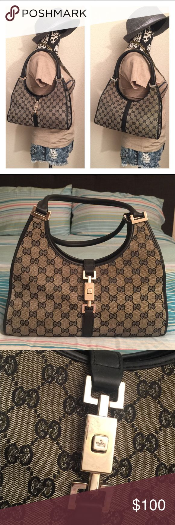 Gucci This is a very well loved vintage Gucci Bardot monogram handbag that is grey and black canvas with black leather trim and handles with push lock closure on the front.Inside.Inside is black lining with gucci print and with zippered pocket with gucci made in italy name plate. PRICE REFLECTS CONDITION OF THE ITEM. Has tons of life left.. NEEDS TLC Gucci Bags