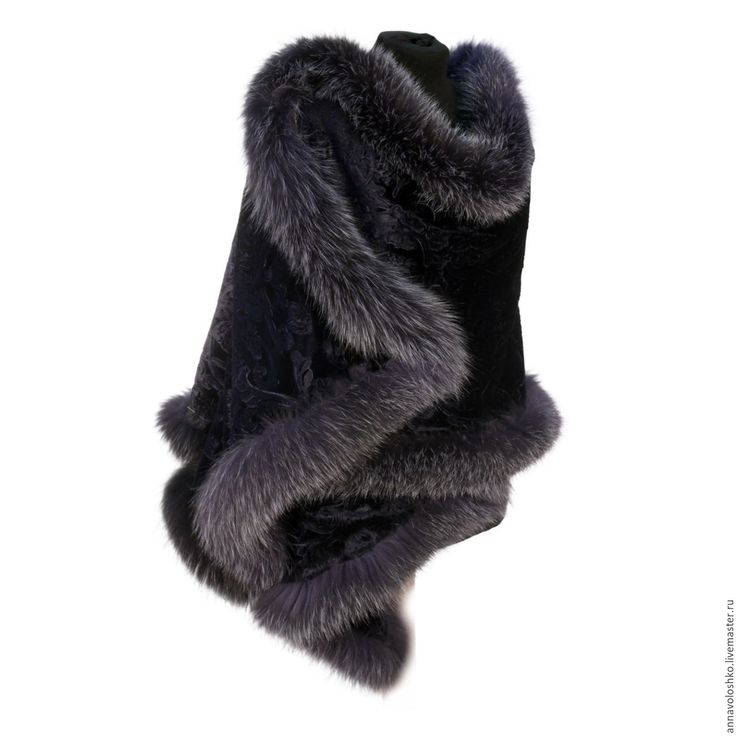 Купить Бархатный палантин с меховой опушкой, арт.3004 - тёмно-синий, бархат, платок, накидка