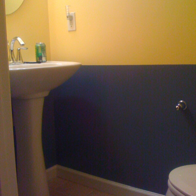 17 best images about navy yellow bathroom on pinterest for Yellow bathrooms photos