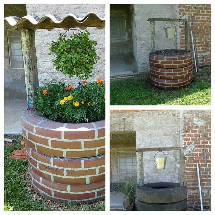 Poço fake com pneu  para decor jardim