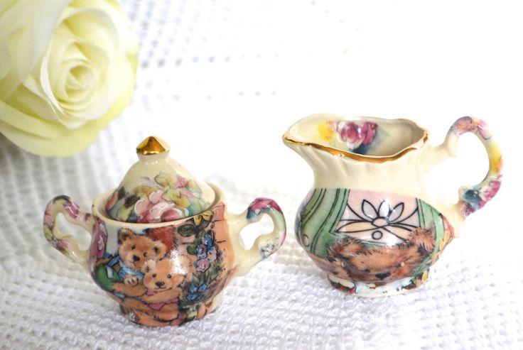 MINIATURE CROWN ASHTON Teddy Bear Tea Set Cream and Sugar Fine Porcelain Made in Canada by StudioVintage on Etsy
