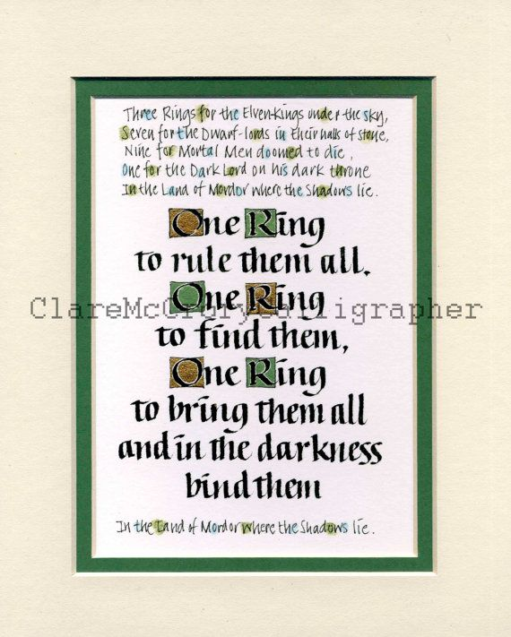"Lord of the Rings One Ring To Rule Them All 8 x 10"" Print, Tolkein Text Print, Fantasy Word Art"