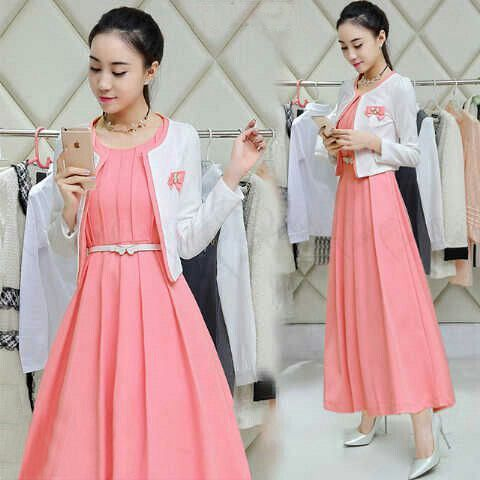 Hrg : 93rb (dress+cardi+belt)  matt : spandek balon tebal  size : L
