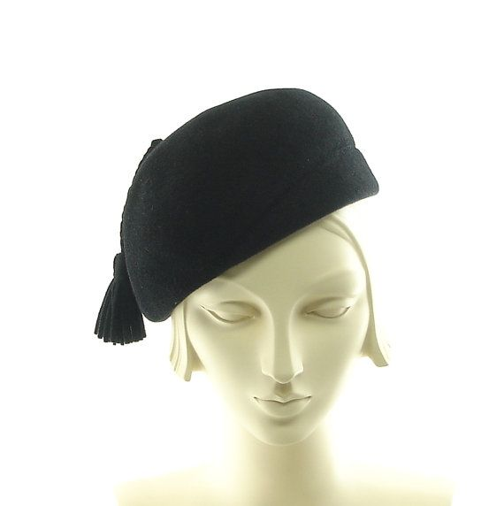 Black Beret Hat for Women  1930s Vintage Style by TheMillineryShop,