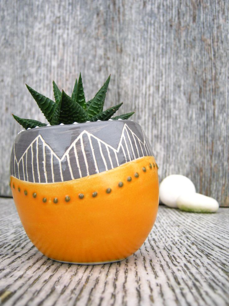 Handmade Ceramic Succulent Cactus Pot Planter in Orange / Grey Zigzags by CeriWhiteStudios on Etsy: