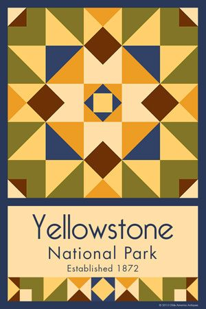 Yellowstone National Park Quilt Block designed by Susan Davis. Susan is the owner of Olde America Antiques and American Quilt Blocks She has created unique quilt block designs to celebrate the National Park Service Centennial in 2016. These are the first quilt blocks designed specifically for America's national parks and are new to the quilting hobby.