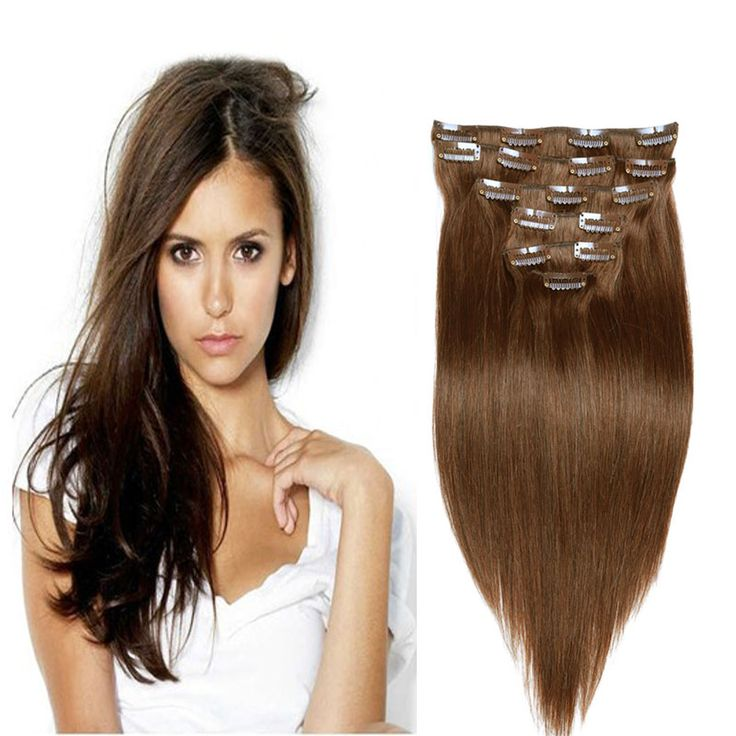 """6A Full Head Clip In Human Hair Extensions 10PCS 120G 16""""-26"""" Straight Medium Brown #6 Brazilian Virgin Hair Clip In Extensions //Price: $US $40.28 & FREE Shipping //   http://humanhairemporium.com/products/6a-full-head-clip-in-human-hair-extensions-10pcs-120g-16-26-straight-medium-brown-6-brazilian-virgin-hair-clip-in-extensions/  #lace_front_wigs"""