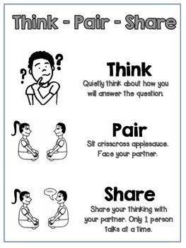 Think Pair Share Poster Printable:{ B&W } CKLA                              …