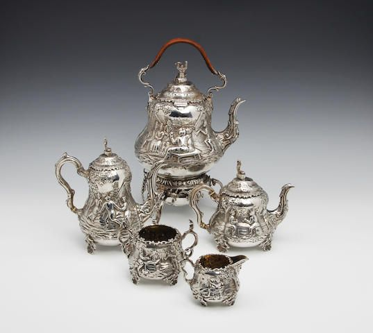 A Victorian five piece tea and coffee service by John Figg, London 1880 Sold for £5,500 (CA$ 9,149)