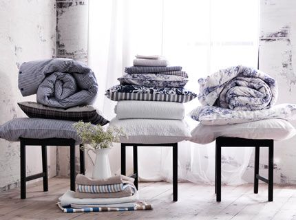 Snuggle up in something soft.  Our comforters and pillows have different fillings, so you can create the warm and cozy atmosphere that suits you best.